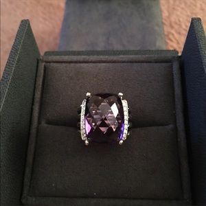 David Yurman 14mm Wheaton Amethyst Diamond Ring